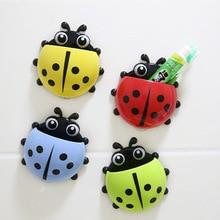 Cute Ladybug new Cartoon Sucker snails Toothbrush Holder suction hooks Household Items toothbrush rack bathroom set