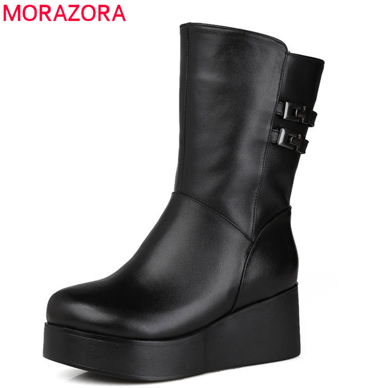 D'hiver Zip Femmes Bottes Nouvelles Mi Neige De Chaussures Mode Cuir 2018 mollet Laine Cales forme Naturel En Véritable Noir Morazora Plate XIwqx7E