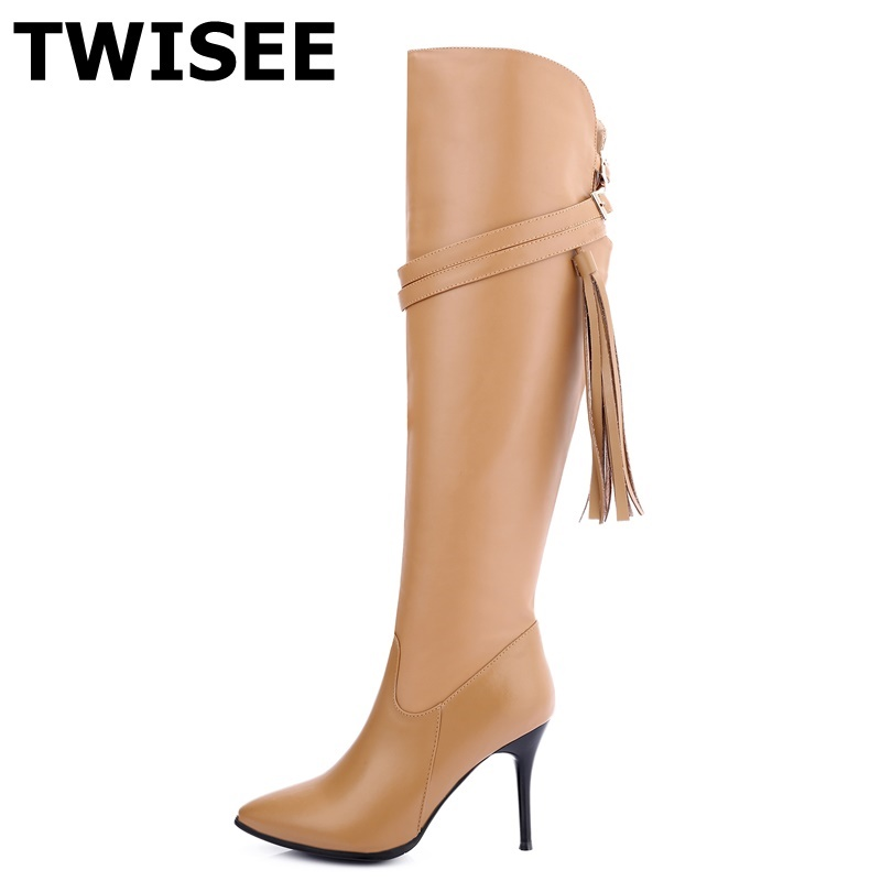 TWISEE Genuine Leather Boots shoes woman Sexy over the knee high women snow fashion winter  boots women's thigh high 9cm boots mg25q2ys40 mg25q2ys40 ep japan new igbt modules in stock szhsx