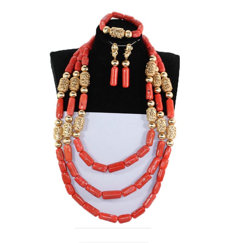 Luxury Nigerian Wedding Necklace Set Real Slender Coral Bead Jewelry Set for Women Bride African Golden Beads Jewelr NCL715Luxury Nigerian Wedding Necklace Set Real Slender Coral Bead Jewelry Set for Women Bride African Golden Beads Jewelr NCL715