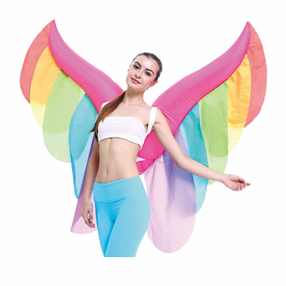 Cosplay fairy colorful inflatable butterfly wings rainbow angel wings fairy princess play props halloween  party props wings