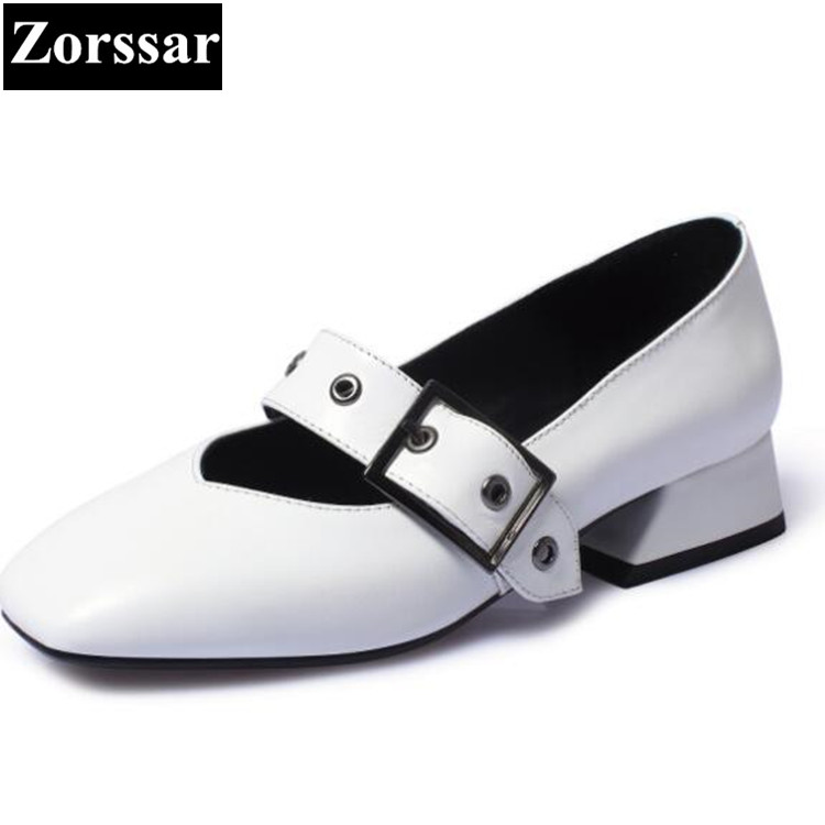 {Zorssar} brand Real leather spring Fashion womens pumps square toe high heels Mary Jane shoes low heel ladies shoes nude nude designer famous brand shoes high quality patent leather mary jane pointed toe flats low heel ballet ladies black ballerina