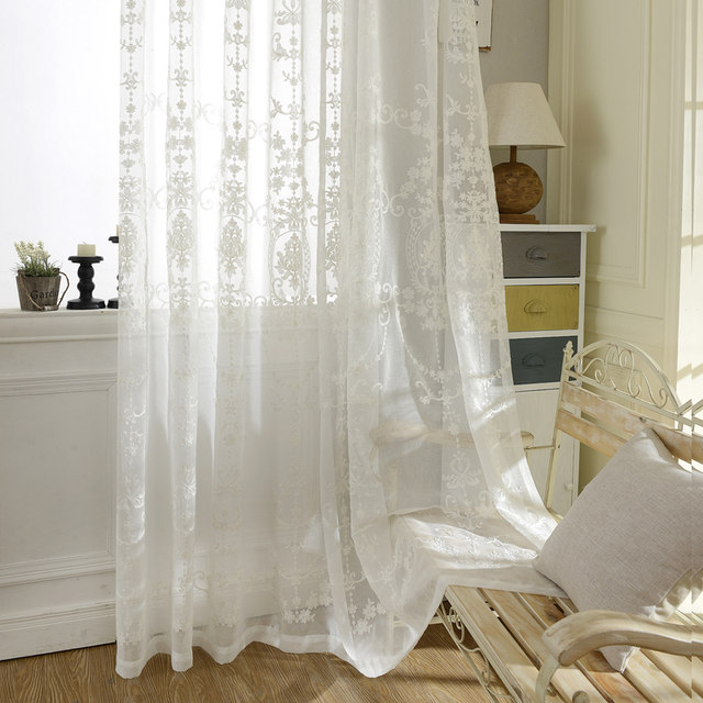 Online Shop European White Embroidered Voile Curtains Bedroom ...