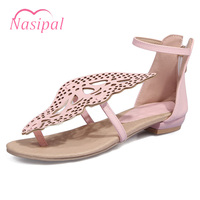 Nasipal Large Size 30 48 Women Flat Sandals Summer Sweet Casual Cut Outs Butterfly Shoes Woman