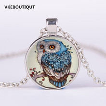 3/Color New Sweater Round Pendant Necklace for Woman Vintage Large Glass Owl pendant necklace Fashion Jewelry Gift Wholesale