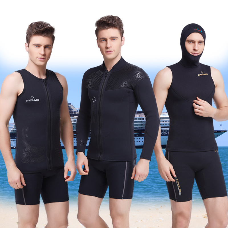 DIVE&SAIL 3MM Thick Wetsuit Split Long Sleeved Clothes Snorkeling Jellyfish Hooded Winter Swimming Surfing Equipment