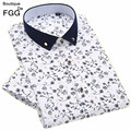 Size 38-44 Men's Fashion Clothing Flower Floral Print White and Blue Shirt Short Sleeve Slim Fit Boys Business Casual Shirts