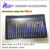 Tungsten Steel File 20pcs 3mm X 3mm Thread Milling Cutter Rotary File Grinding Bits For Electric