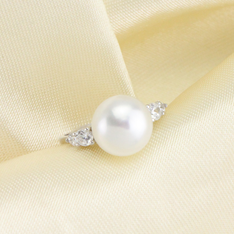 Classic fashion engagement promise rings for women,natural freshwater pearl ring,silver 925 open class ring best friend gift