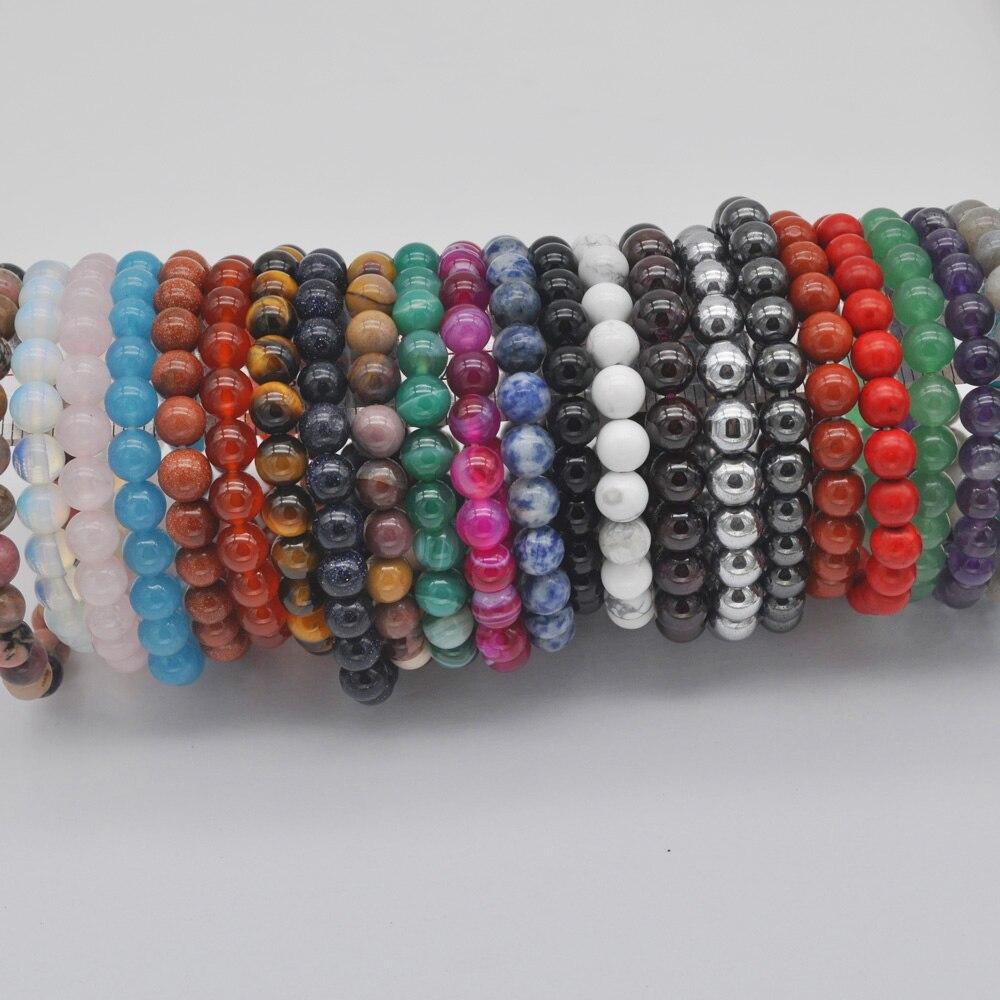 8 Mm Howliet/rhodoniet/zandsteen/carneool/kristal/labradoriet/tijgeroog Steen Bead Gem Armband Stretch 8 Inch Sieraden