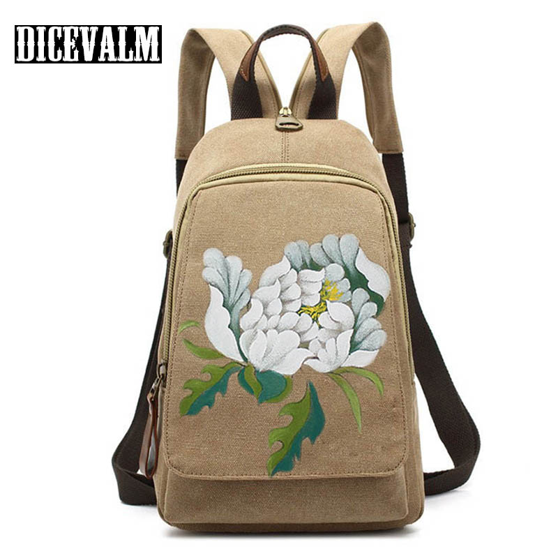 Retro Canvas Bag Women Backpack Female Printing Shoulder Bag Casual Vintage School Bags For Teenage Girls Casual Travel Backpack 2017 new fashion women canvas handbags casual beach woman bags female shoulder bag crossbody bag book bags for teenage girls