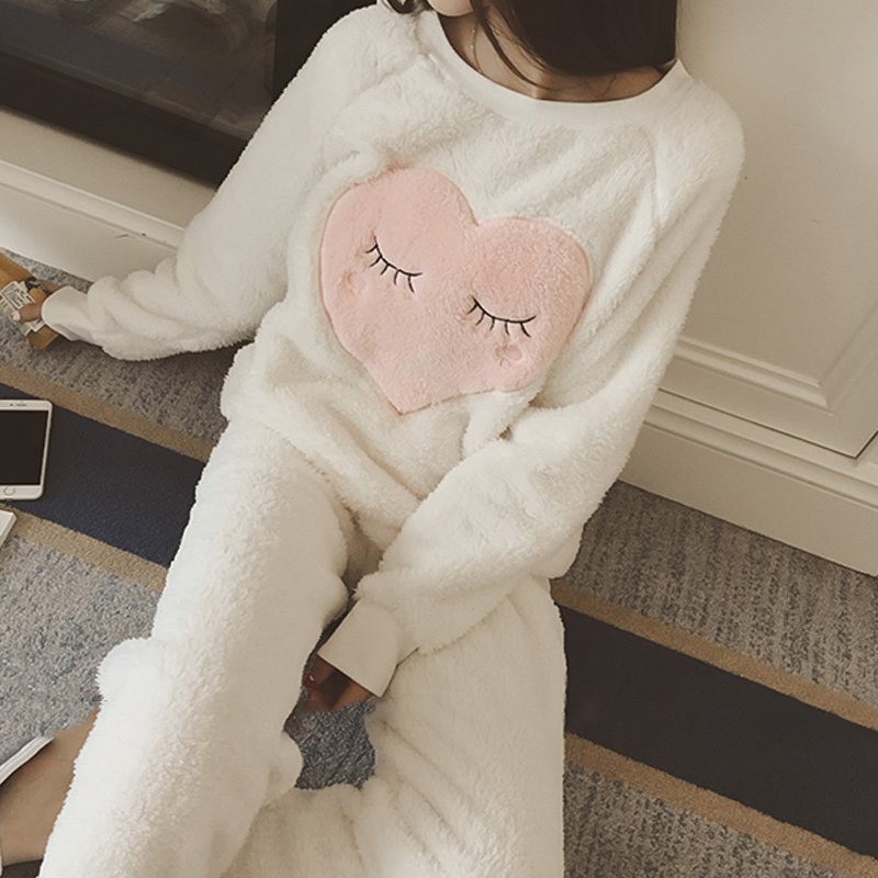 Women Coral Fleece Pajama Sets 2019 Autumn O-Neck Cute Sweet Warm Plush Pyjamas Suit Home Clothes Female Soft Thick Sleepwear