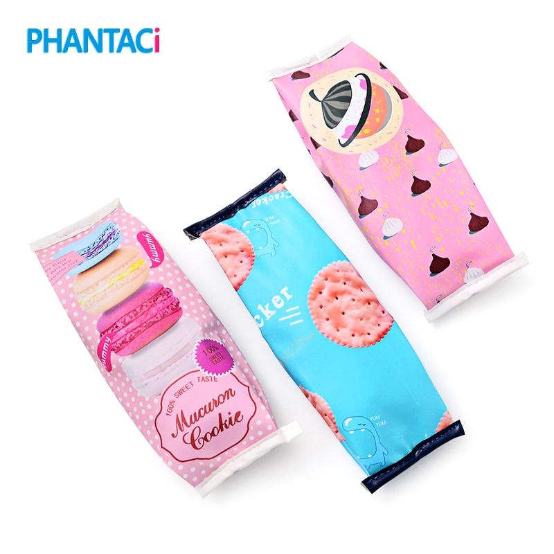Kawaii Creative Macaron School Pencil Case For Girls Chocolate Cracker PU Leather Pencil Bag Kids Gift School Supplies