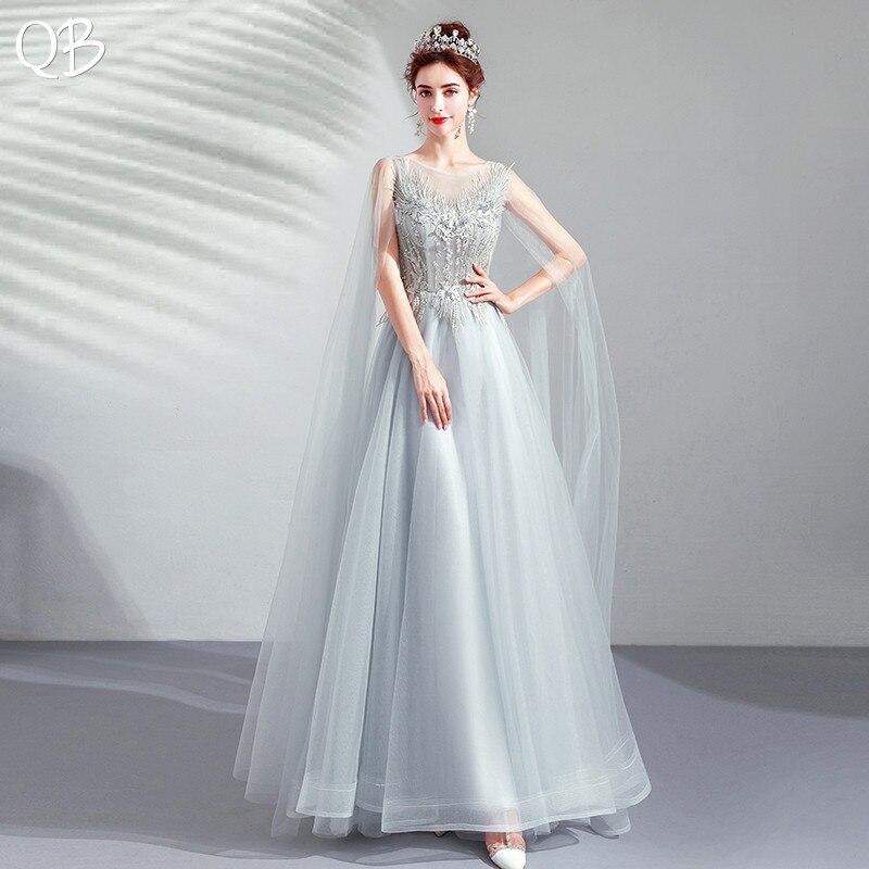 Gris 2019 nouvelle mode a-ligne robes de soirée Tulle dentelle perles Appliques Vintage bal robes de soirée robe formelle XK388