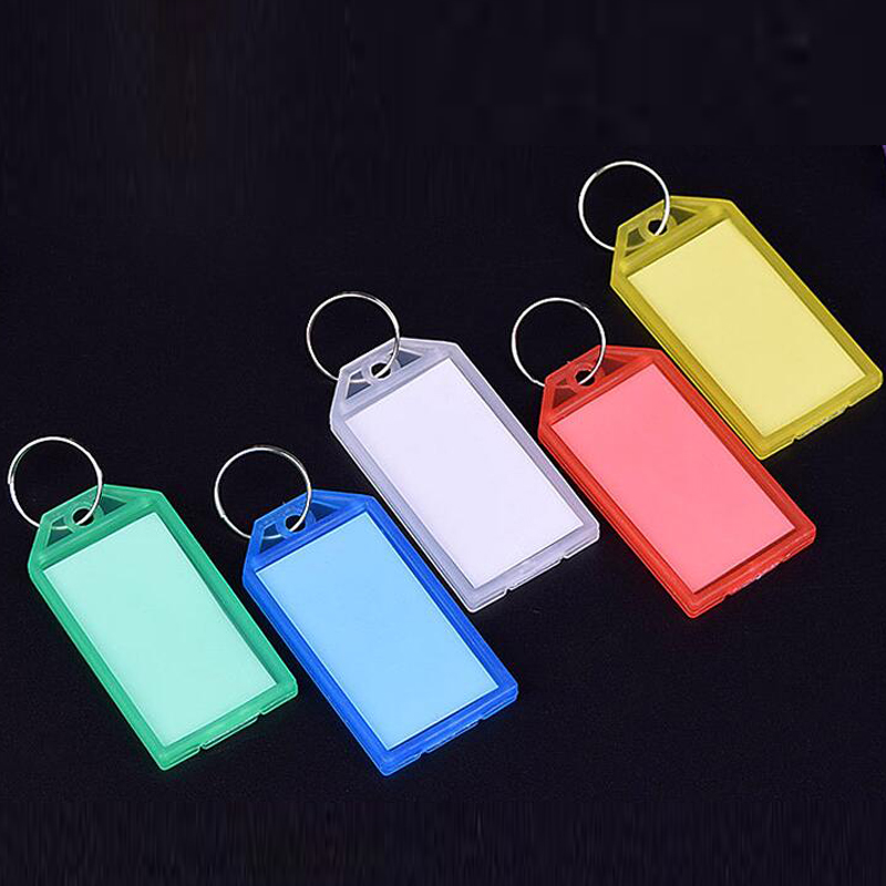 50 Pcs Colorful Plastic Key Fobs Luggage ID Card Name Label Tag Keyring Keychain Classification Buckle Bag Pendant Key Ring