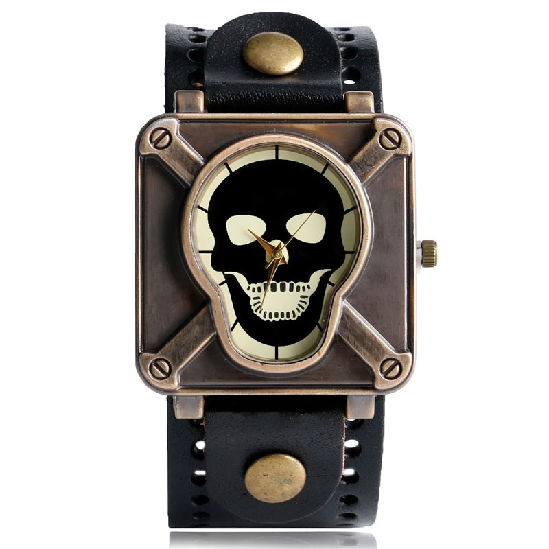 Black/Brown Color Leather Starp Band Skull Wrist Watch Men Sreampunk Square Dial Creative Watches for Man 2018 New Male Clock creative gradient color skull pattern square shape flax pillowcase without pillow inner