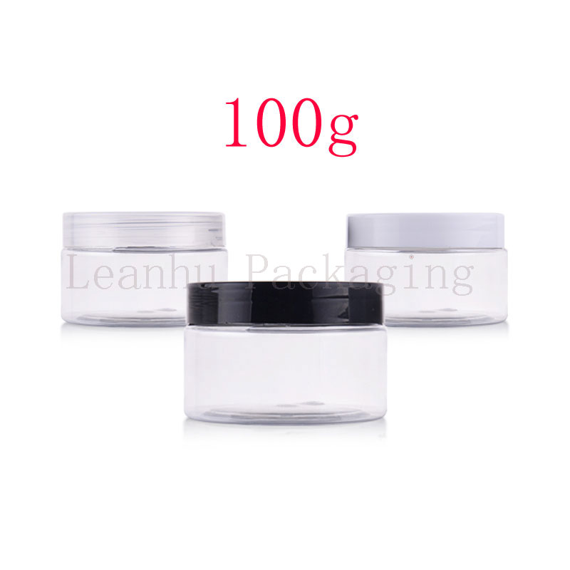100g X 50 Clear Empty Plastic Cream Containers Jars With Screw Caps Deodorant Containers Cosmetic Packaging