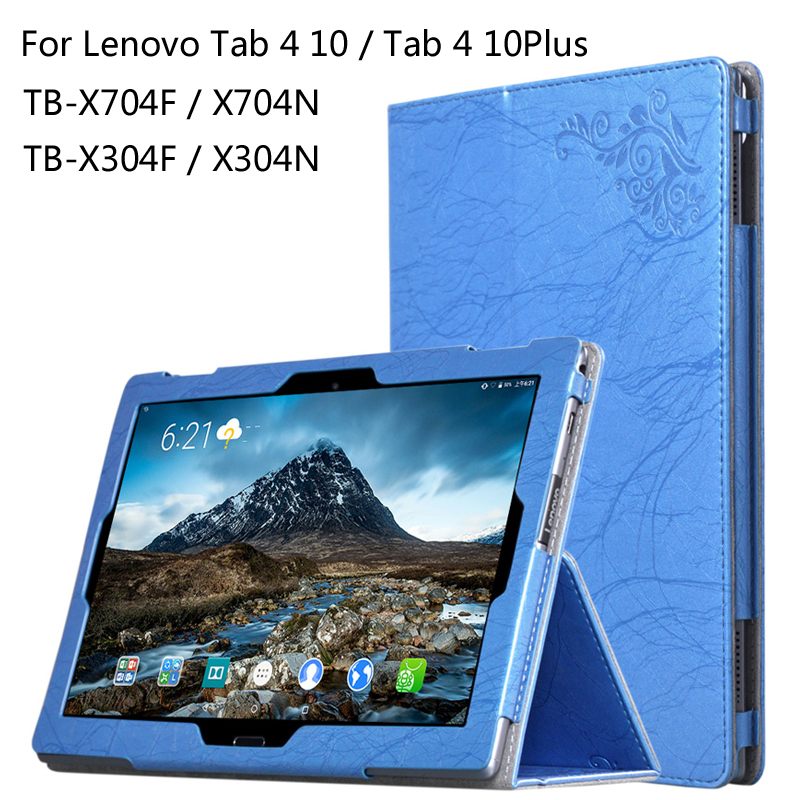For Lenovo TAB 4 10 / 10 Plus TB-X704F/N TB-X304F/N 10.1 inch Tablet Printing Pattern Cover Flower Leather Case + Stylus цена 2016