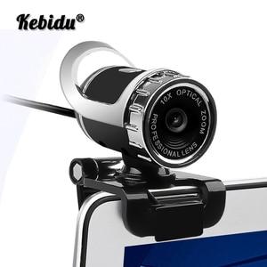 Kebidu Web Camera Glass Lens Webcam USB 12 Megapixel High Definition Camera Web Camera 360 Degree MIC Clip-on For PC Computer