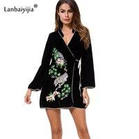 Lanbaiyijia Thick Velvet Spring Dress Women Loose Casual Dress Long Sleeve Embroidery White Tiger Sashes Waist