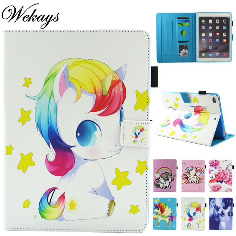 Wekays For Apple IPad Air 2 IPad 6 Cartoon Unicorn Leather Flip Funda Case sFor IPad Air 2 IPad6 Tablet Cover Case For IPad Air2 все цены