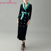 Women double breasted belted military army long velvet dress elegant slim work office party velvet dress high quality 7418
