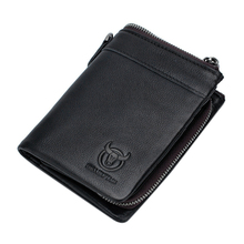 NEW-BULLCAPTAIN Genuine Leather Wallet Men Coin Purse Card Holder Men Wallet Zipper Design Male Ballet Clamp For Money Bag цена и фото