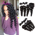 Unprocessed Virgin Brazilian Hair Loose Wave With Closure 3 Or 4 Bundles With Closure Brazilian Hair Weave Bundles With Closure