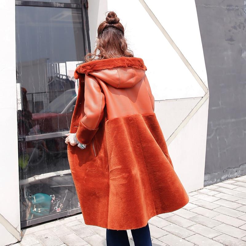 Veste Femmes Hiver Ayunsue Long Caramel Vêtements Laine Femme Deux Luxe Côté Coréenne En Porter Manteau De Kj994 Cuir Vraie 2018 Fourrure Ungn8x