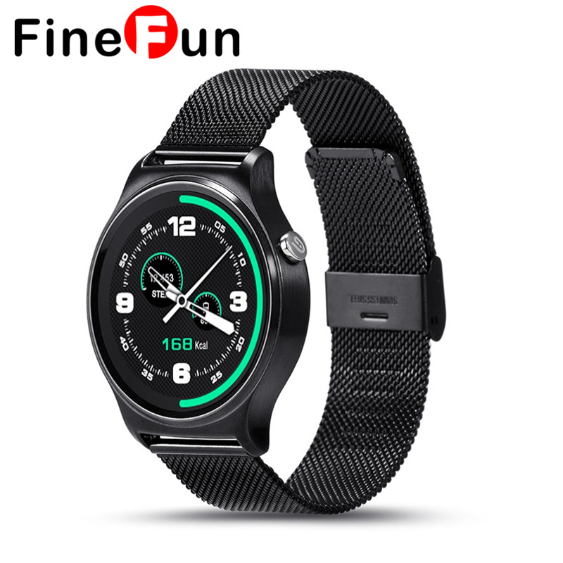 GW01 Men's Smart Watch Bluetooth Touch Screen Connected to a Round Stainless Steel Watch Dial Phone Smart Wearable Heart Rate smart sm407 01 c35