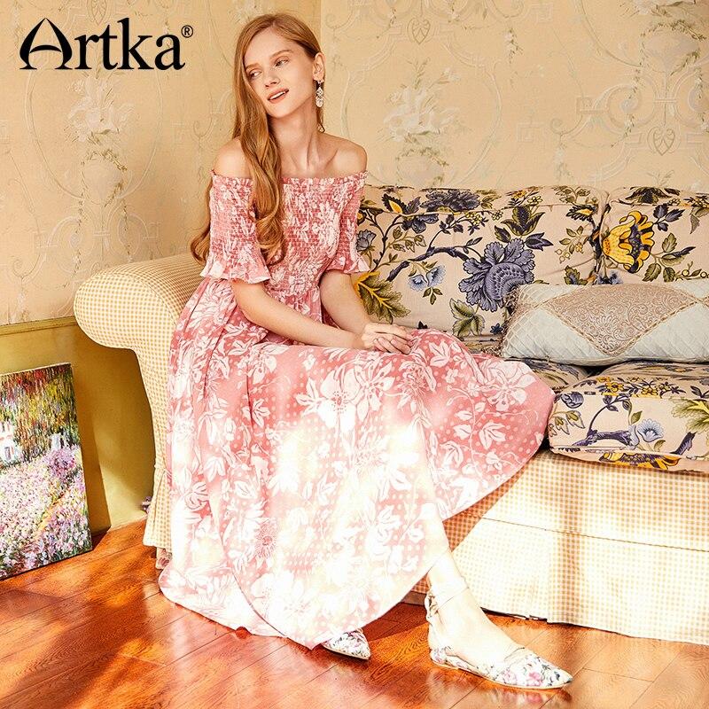 Media Mujeres Gran Cintura Maxi Vestido Romántica Vintage Verano Cuello Alta Artka Arruga Nuevas Swing Manga Slash Floral La11285c Delgada 2018 P8ZW1gt