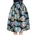 Outono verão Mulheres Midi Saias Plissadas Padrão Abstrato Do Vintage Impresso Vestido De Baile De Cintura Alta Flared Saias Balanço Grandes Saias