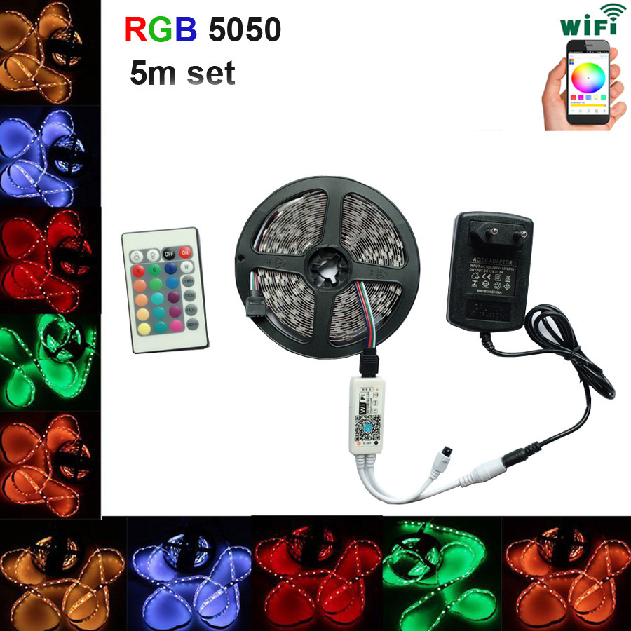 цена на SMD RGB LED strip light 5050 2835 DC 12V waterproof led ribbon light diode flexible ribbon controller WiFi adapter set
