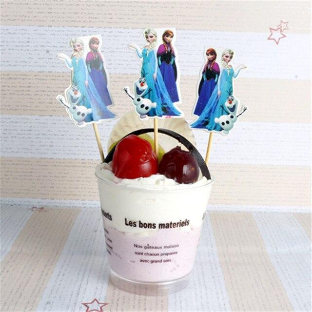 10pcs Lot Snow Queen Elsa Dan Anna Theme Cupcake Topper Picks Cartoon Birthday Party