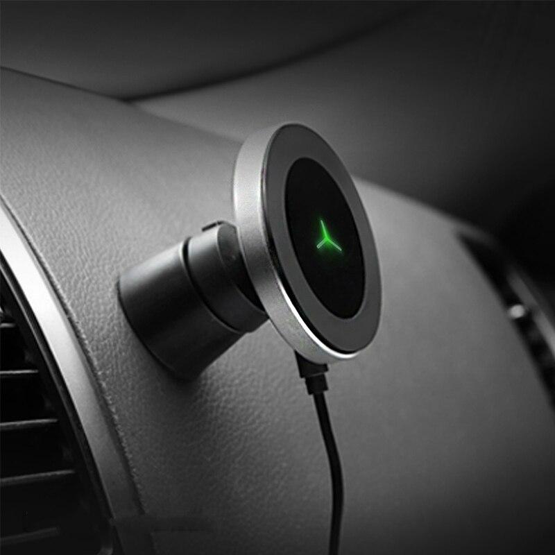 360 Degrés Rotation Sans Fil Chargeur de Voiture pour IPhone XsMax/Xs/Xr/8plus Qi Chargeur de Voiture Sans Fil Magnétique pour Samsung S10/S9/S8 10 W