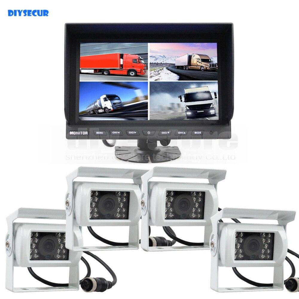 DIYSECUR 9Inch Split QUAD Car Monitor 4 x IR Night Vision Rear View Car Camera Waterproof