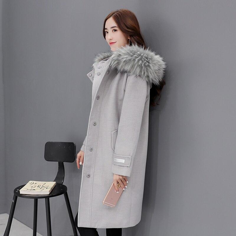 Kadın Giyim'ten Yün ve Karışımları'de Kürk Yaka Kapşonlu Uzun Yün Ceket Kadın Moda Sonbahar Kış Yün ceket Artı Boyutu Kalın Sıcak Yün Ceket Gevşek Kadın palto'da  Grup 1