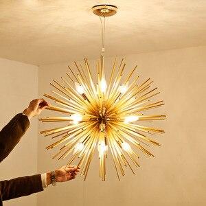 Image 4 - Nordic artístico led alumínio dandelion lustre de ouro pendurado lâmpadas luminária decorativa iluminação led luzes para casa