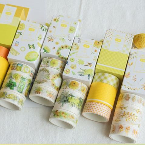 3pcs/Box Kawaii Beautiful Summer Lemon DIY Adhesive Masking Tape Unicorn Flower Paper Lable Sticker Book Decoration Tapes