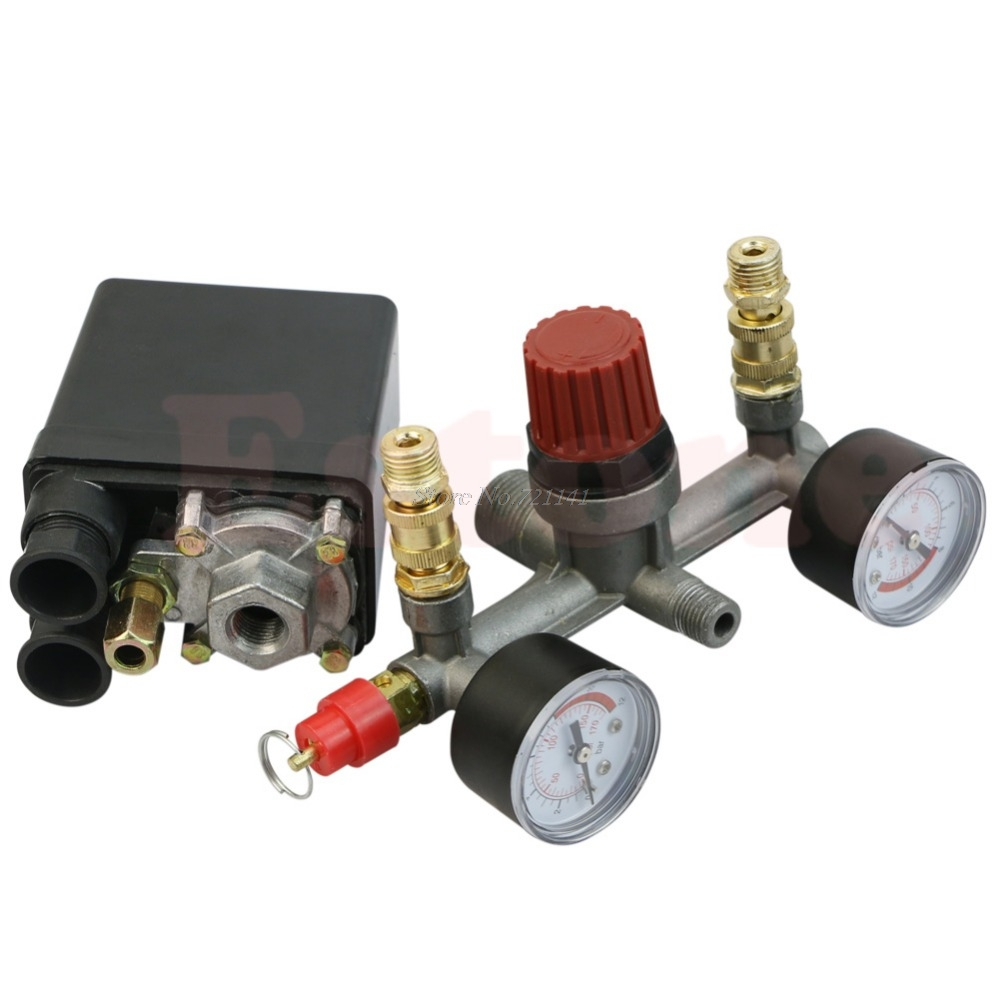 REGULATOR HEAVY DUTY Air Compressor Pump Pressure Control Switch + Valve Gauge