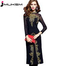Spring and Autumn Women's dress 2018 new medium long Slim Long sleeves black Net yarn embroidery Sexy Split ends dress p024