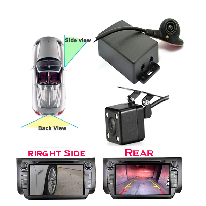 Car camera Two Video Automatic Switch Control box for Right left blind spot system Car rear view camera and side view camera
