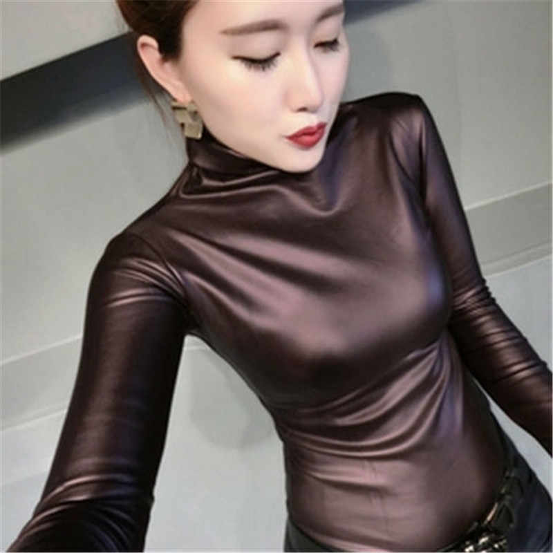 f58fed0d8739c 2019 Fashion Autumn Women PU Leather Tops Shirts turtleneck Long Sleeve  slim Casual blouse plus size