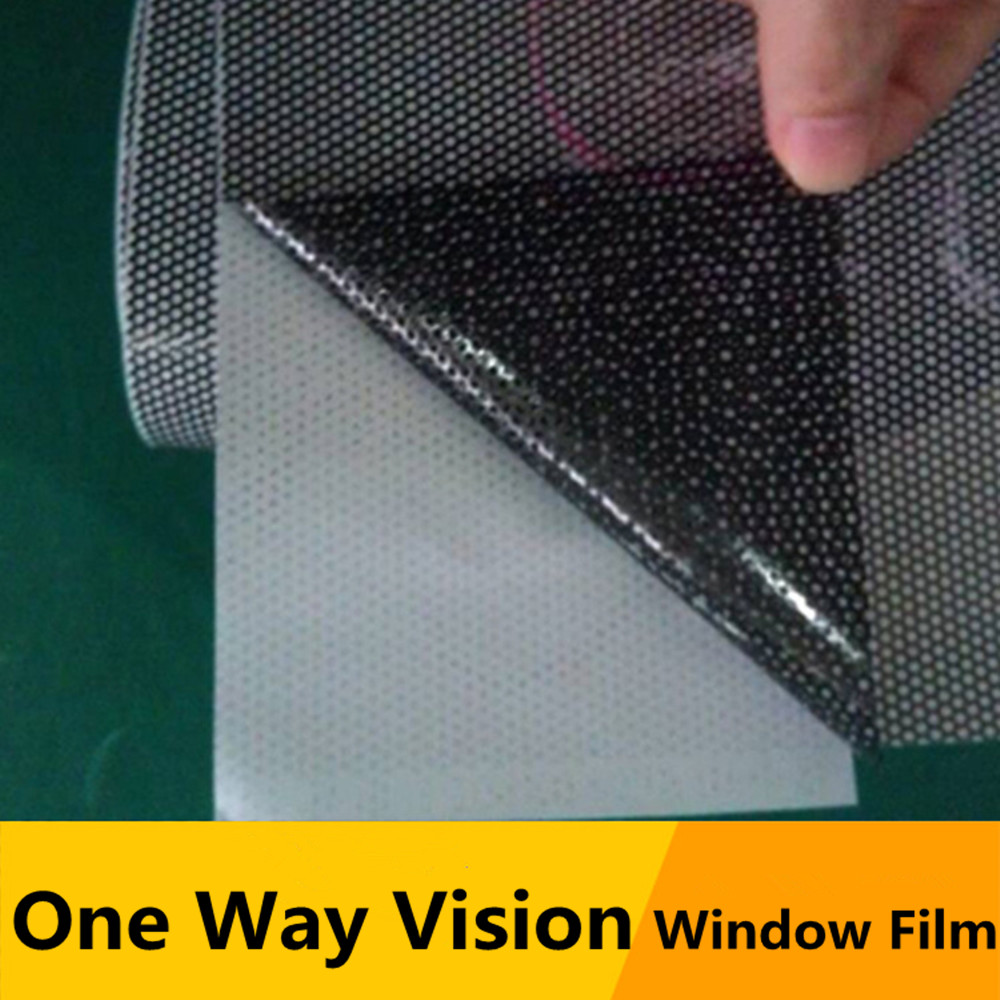 "Image 3 - SUNICE Black Perforated Vinyl Film One Way Vision Privacy Film Wrap Car/Home Window Film 48""x11.8""(122cm x 30cm) Sticker Decals-in Car Stickers from Automobiles & Motorcycles"