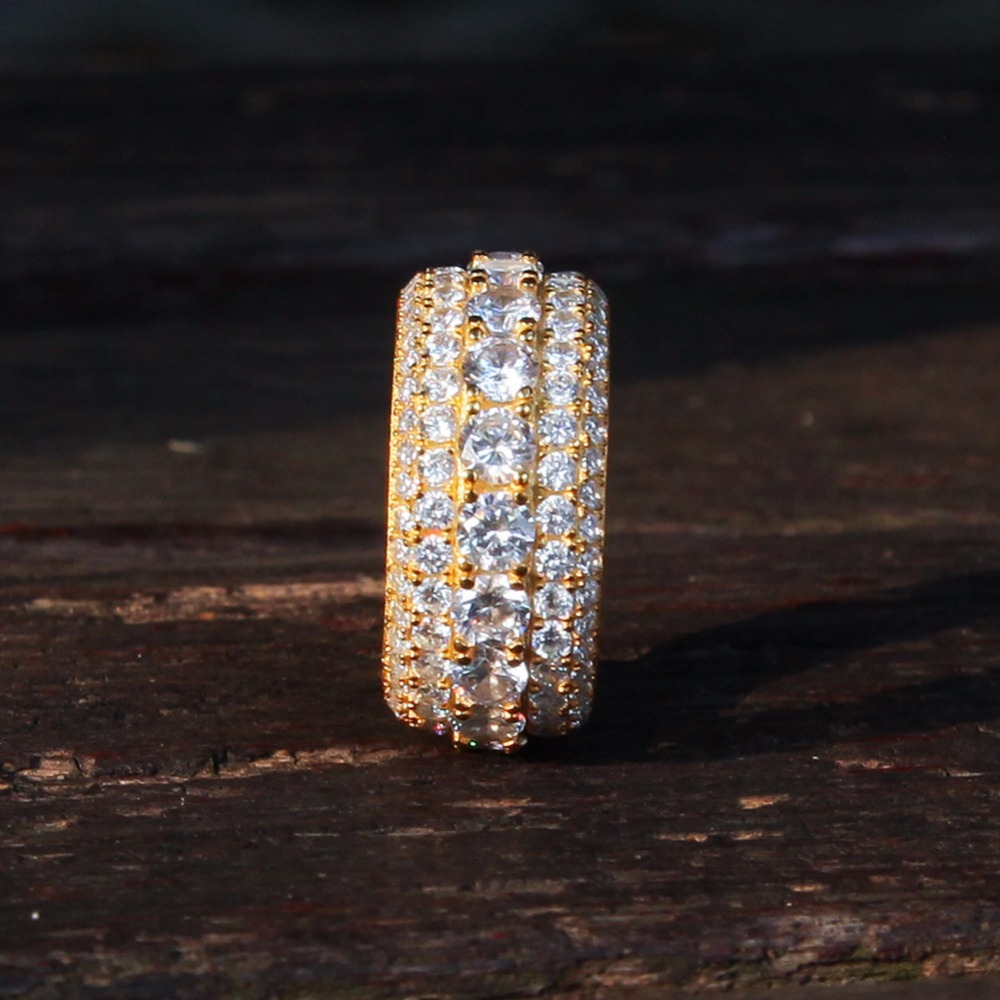 925 Sterling Silver Cubic Zirconia Ring for Women Geometric Round CZ Gold Rings Men Hip Hop