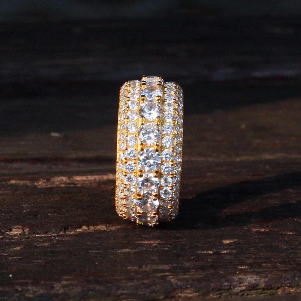 925 bague en argent Sterling zircon cubique pour les femmes géométrique ronde CZ or anneaux hommes Hip Hop rappeur bijoux cadeau livraison directe