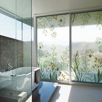 Wide132 Height90cm Stained Window Film Frosted Privacy Stickers For Glass No Glue Static Cling Bathroom Waterproof