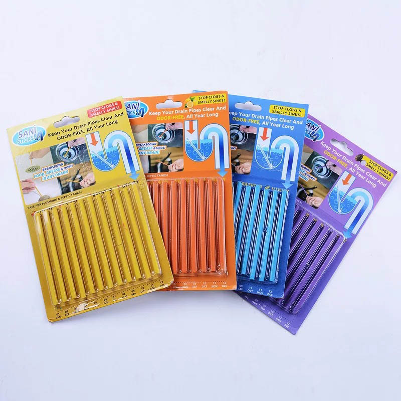 Cleaning Rod Sani Sticks Decontamination Rods 12PCS/Set Bathtub Cleaner Kitchen Tools Bathroom Accessories Cleaning Drain