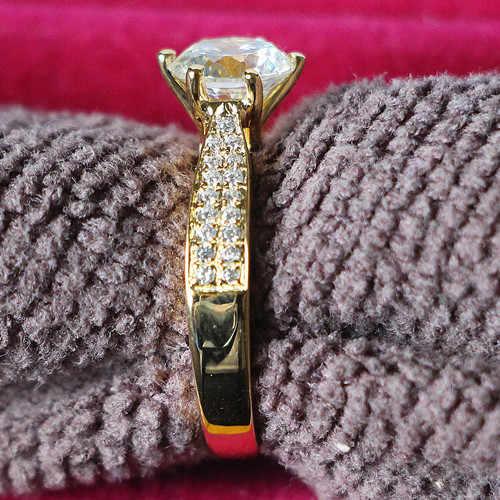 Estrella brillo joyería oro amarillo cubierta Semi montaje 2CT diamante sintético fiable Anillo Compromiso 925 joyería de plata nupcial