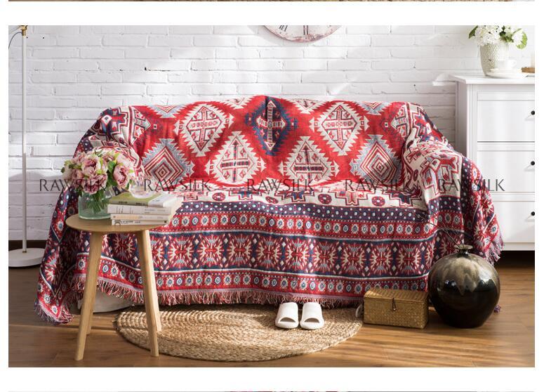 Multifonction tricoté couverture Kilim glands tapis pour canapé salon chambre turc motif ethnique couvre-lit couverture anti-poussière